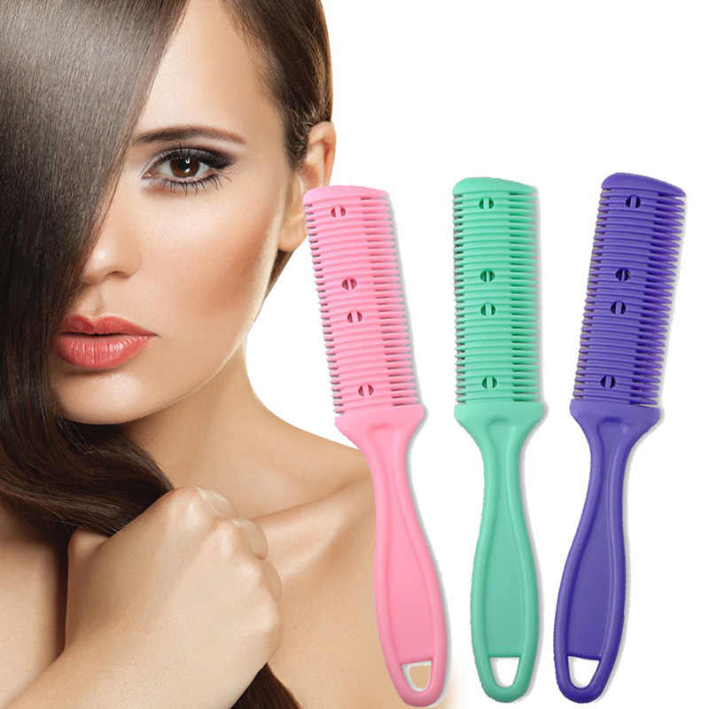 Professional Hair Razor Comb Black Handle Hair Razor Cutting Thinning Comb Home DIY Thinning Trimmer Inside Blades hair comb