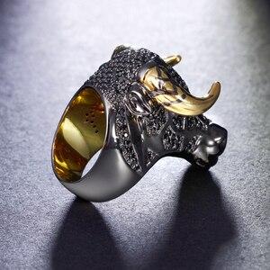 Image 4 - Dreamcarnaval 1989 gros taureau noir avec des cornes de couleur dorée Punk Hip Hop CZ grand anneau pour unisexe hommes femmes mode de rue SR2314