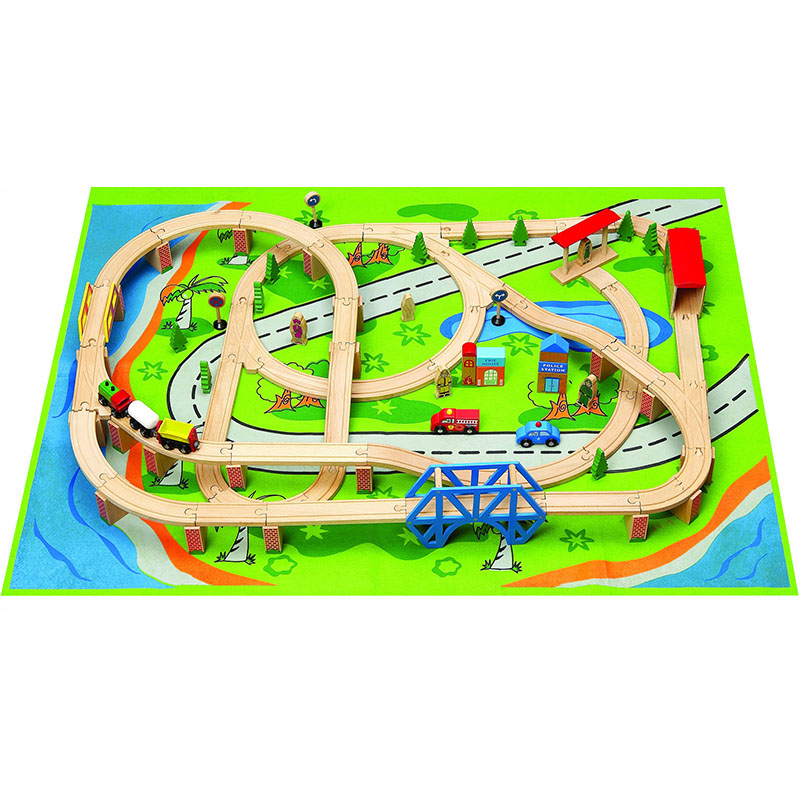 3 years old or older puzzle early education toy wooden car track set train track gift set