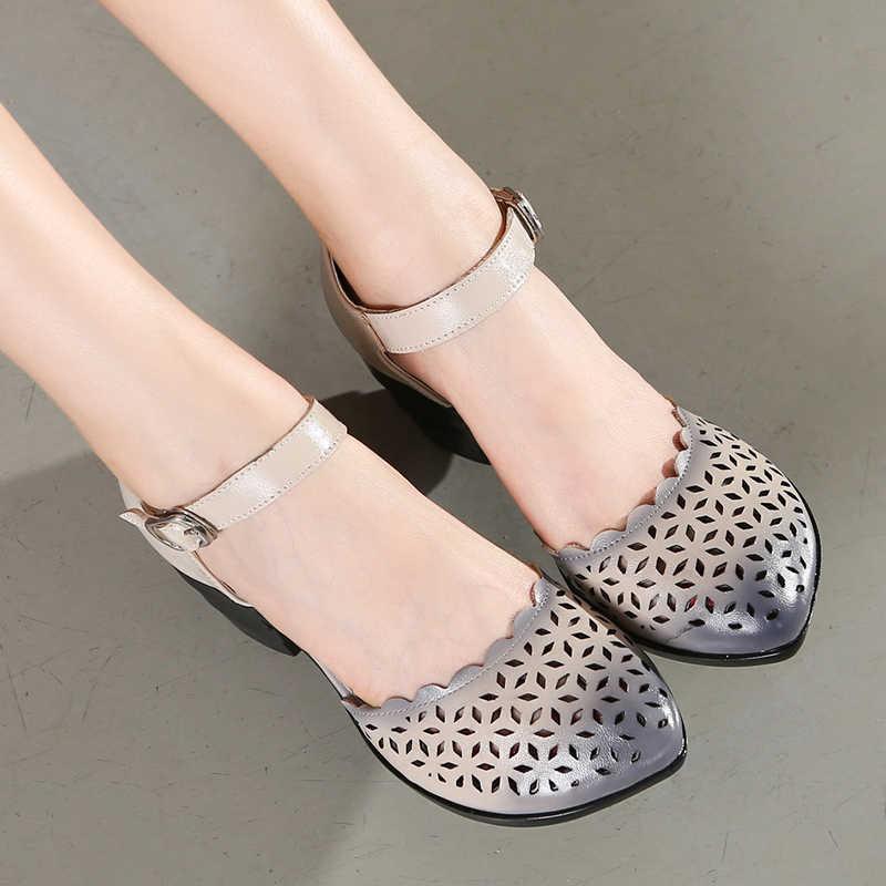 6c14968f7 2019 женские босоножки на толстом каблуке с закрытым носком в этническом  стиле, летние женские босоножки