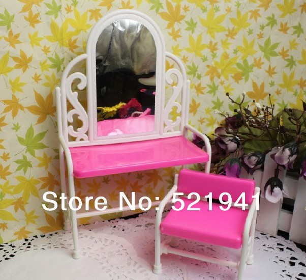 Free Delivery,Doll Furnishings Dressing Desk + Chair Equipment For Barbie Doll