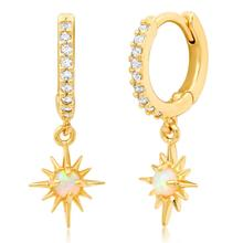 minimal delicate jewelry single white fire opal stone Gold filled starburst charm dangle earring