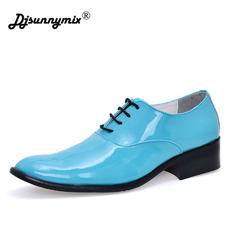 DJSUNNYMIX Brands New Arrival Men Dress Shoes Designer Younger Pointed Toe Wedding Shoes Man Patent Leather Lace Up Trend Shoes new arrival pointed toe men wedding shoes men s lace up breathable business casual shoes fashion man hairstylist shoes size38 44