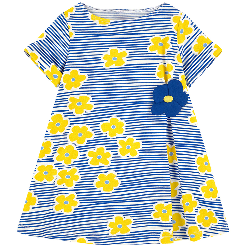 Jumping Meters Baby Girls Dress Vestidos Fashion A-line Girl Dresses Children Clothing Floral Costume for Kids Tunic Dress