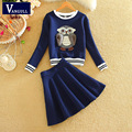 2016 Spring New Fashion Women Clothing Set Lady Career Suits 2 Piece Set European Style Autumn Owl Pattern Sweatshirt + Skirt