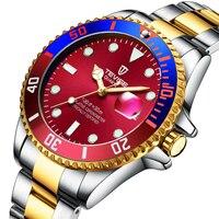 Tevise Watch Men Quartz Movement Stainless Steel Wrist Watches Waterproof Luminous Calendar Display Luxury Watch