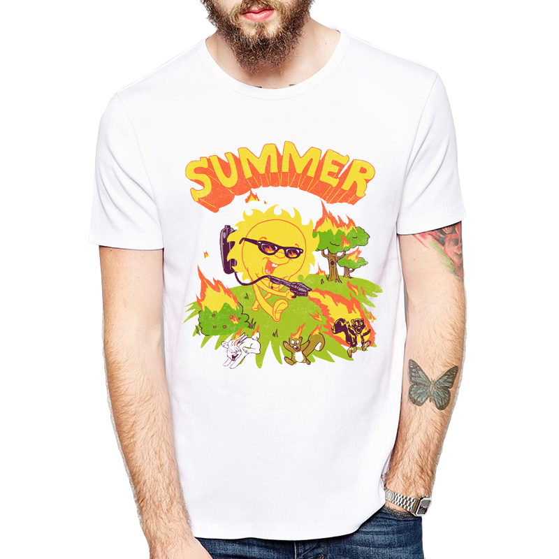 Hot Burning Animal Harajuku T-Shirt men 2017 Summer Casual Mens Short Sleeve TShirt Funny design Hip Hop Shirts