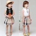 2016 verão crianças meninas roupas meninas xadrez vestidos sleeveness crianças inglaterra causal algodão vestido vestido de princesa