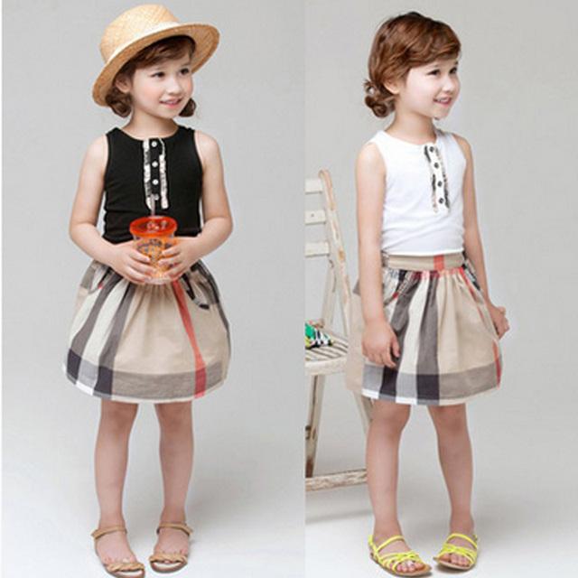 Moda 2016 verano para niños baby Girls ropa Girls plaid vestidos sleeveness niños inglaterra causal cotton dress princess dress