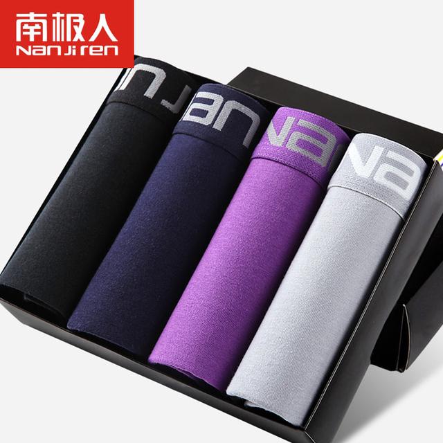 Nuevo extra grande tamaño de los hombres del boxeador shorts sexy mens underwear l ~ xxxl de algodón 4 unids/lote de marca de alta regalo de calidad envío gratis