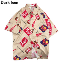 Dark Icon Retro Shirts for Men Turn-down Collar Hip Hop Short Sleeved Mens