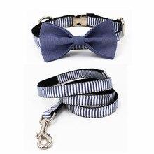Джентльмен в полоску ошейник галстук-бабочка синий персональный на заказ Регулируемый pet pupply100 % хлопок Собака и ожерелье с кошкой и поводок для собак