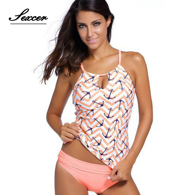 Sexcer Swimwear Women Two Piece Swimsuit maillot Tankini Vintage Halter Top High Waist Bathing Suit Swim Beach Wear Plus Size XL halter floral skirted plus size tankini set