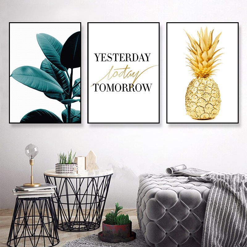 Painting Posters Motivational Canvas Wall-Art Room-Room Home-Decor Nordic-Style Golden-Pineapple