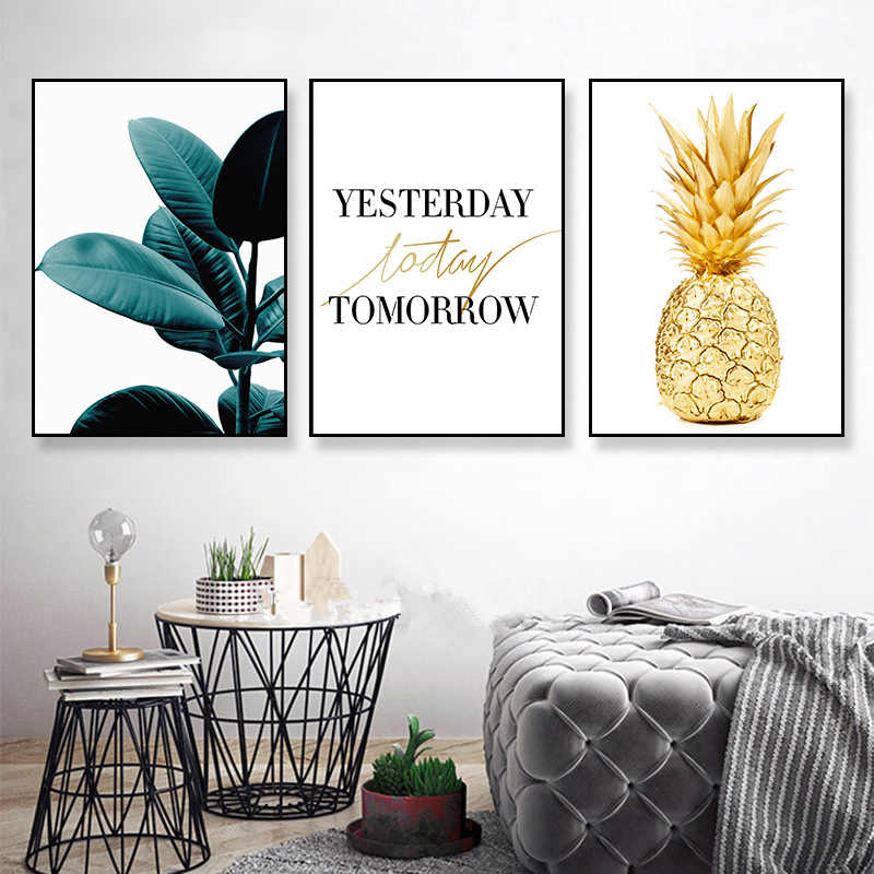 Golden Pineapple Nordic Style Wall Art Canvas Motivational Home Decor Kids Room room Painting posters canvas painting K160