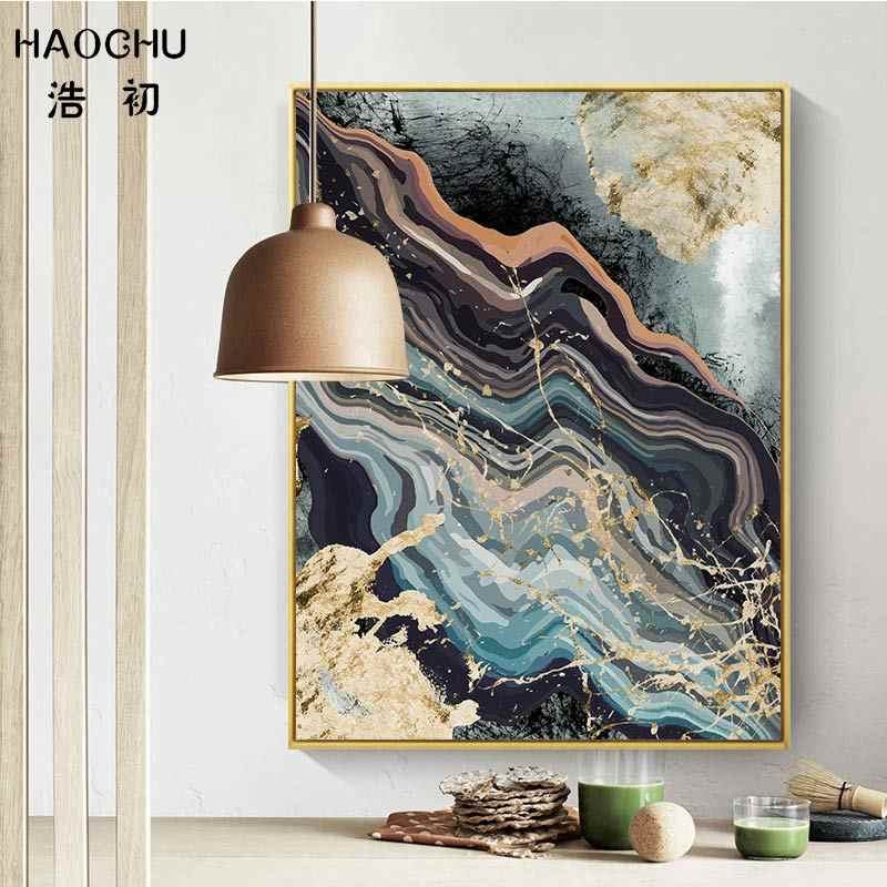 HAOCHU European Black & White Abstract Geometric Lines Marble Texture Canvas Painting Art Poster Decor Picture Home Wall Decor