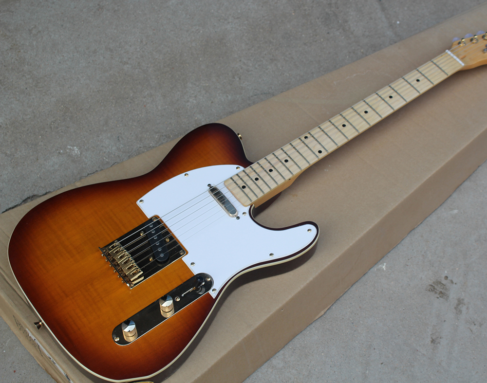 Заводская из черешни крекер корпус гитары с 2 пикап, золотой пикап, золотая фурнитура, настраиваемый, бесплатно доставить