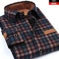 HQ 2016 мужская clothing slim с длинными рукавами утолщение кашемир лоскутное рубашки классический плед повседневная рубашка camisa masculina не-утюг