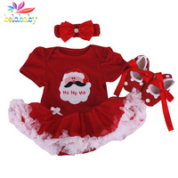 Belababy Baby Girl Clothing Set Infant Christmas Winter Cartoon Santa Claus TUTU Jumpsuit+Headband+Shoes Newborn baby Romper Set