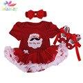 Belababy conjunto roupa da menina infantil do bebê do inverno do natal dos desenhos animados papai noel tutu macacão + bandana + sapatos recém-nascidos do bebê romper conjunto
