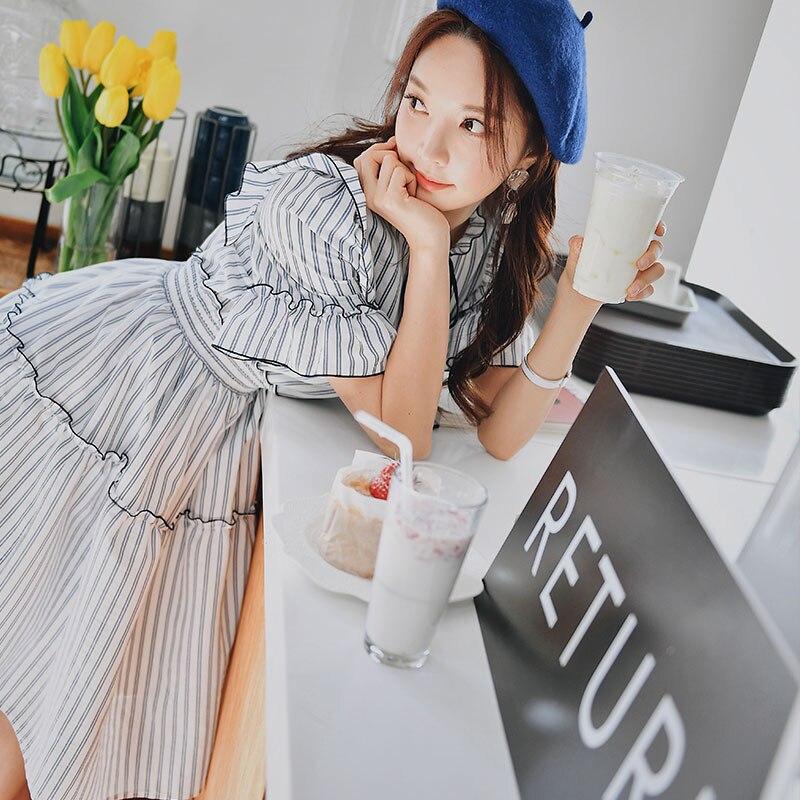 Imported From Abroad Dabuwawa Summer Ruffles Striped Swing Dress Women Girls 2019 New Elegant Butterfly Sleeve Midi Dress Dn1bdr010 Lustrous Surface Women's Clothing