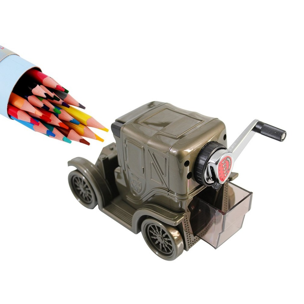 Deli 0618 Portable Size Vintage Car Shape Pencil Sharpener School Office Manual Adjustable Pencil Sharpener Tool DropShipping deli 0620 manual pencil sharpener heavy duty quiet for office home and school school chancery stationery desk clamp included