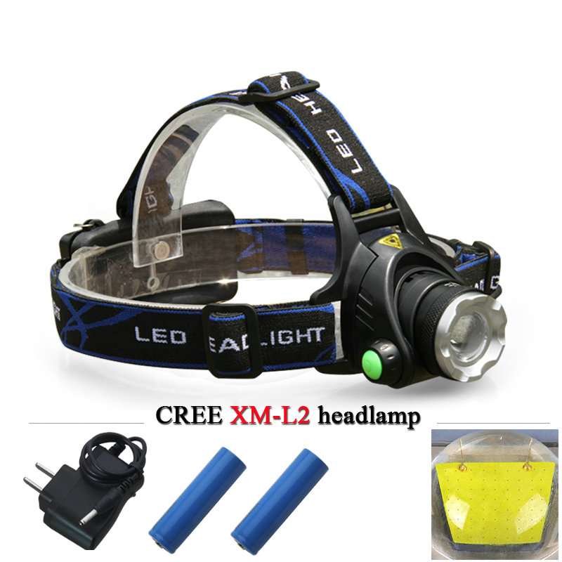 Powerful CREE XM L T6 LED headlight XM-L2 headlamp rechargeable waterproof 18650 battery camping fishing head lamp flash light цена