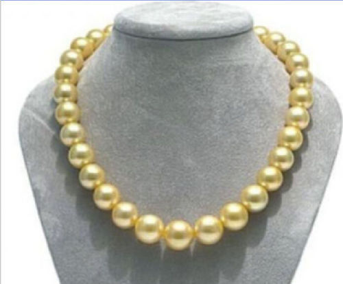 HUGE 18 AAA+10-11 MM SOUTH SEA GENUINE GOLD NATURAL PEARL NECKLACE free shipping