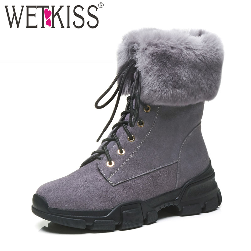 WETKISS Cow Suede Women Ankle Boots Lace Up Round Toe Footwear Fur Thick Plush Warm Female Boot Platform Snow Shoes Woman 2018 uexia winter cow suede tassels loafers fur inside warm gommini women shoes soft flats female shoes womens footwear round toe