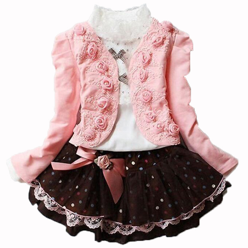 Winter Girls Christmas 3pcs clothing set Kids shirt + rose Coat + Lace Dot skirt children clothing girl new year costume Clothes retail design children clothing set for kids girl dark blue cardigan t shirt pink skirt high quality 2014 new free shipping