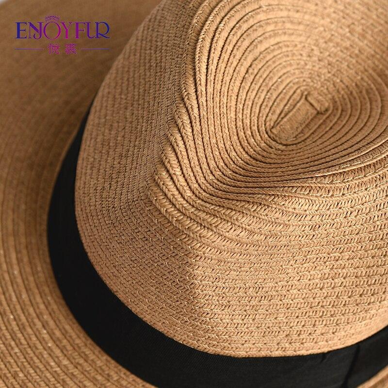 Sonnenhüte Enjoyfur Frauen Sommer Sonne Hut Unisex Panama Hut 2019 Neue Ankunft Mode Stroh Strand Cap