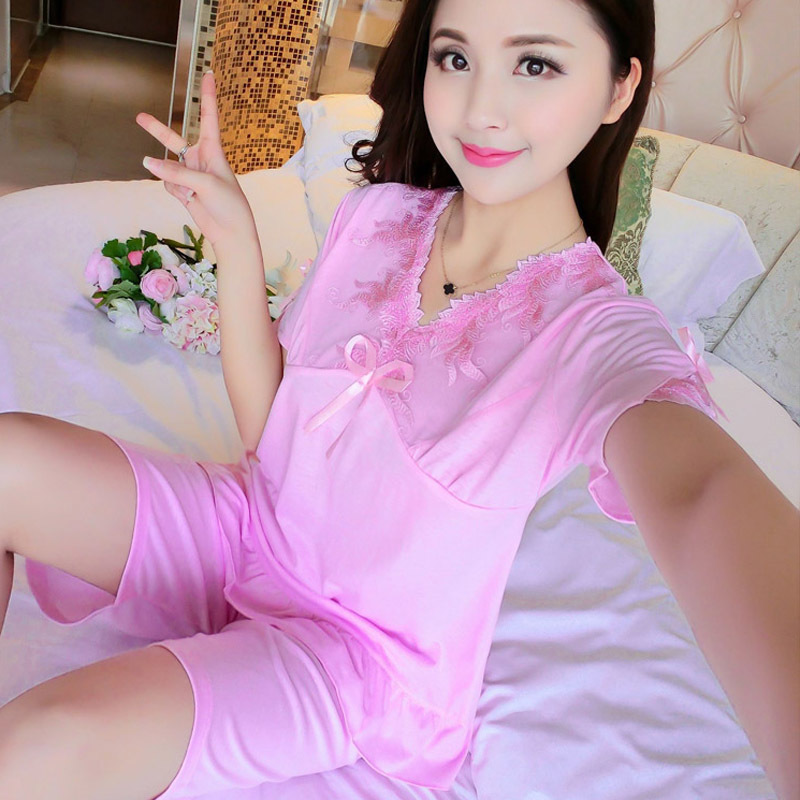 2018 Summer new knit cotton short sleeve hooded pajamas solid color V-neck casual sweet home service suits