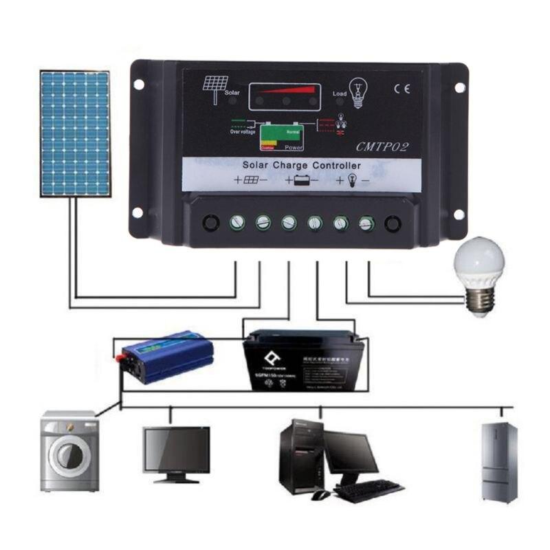5А/10А/15А/20А/30А Контроллер заряда панели солнечных батарей 12В/24В автоматический переключатель панели солнечных батарей регулятор температур...