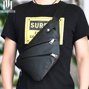 Image 5 - Misfits 새로운 정품 가죽 남자 가슴 가방 패션 crossbody 가방 남자 메신저 가방 암소 가죽 여행 팩 남성 어깨 가방
