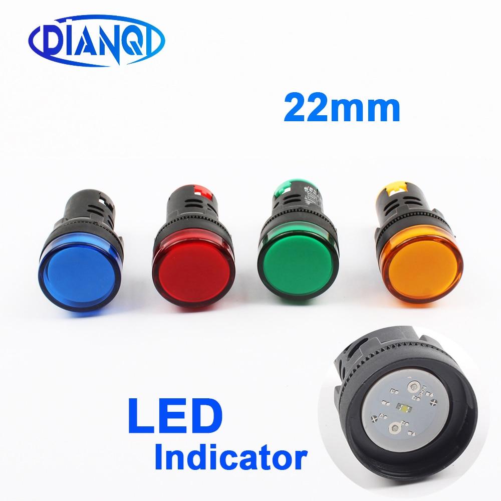 1 pièces 12V 24V 220V 380V 22mm panneau montage alimentation LED indicateur pilote Signal lumineux lampe