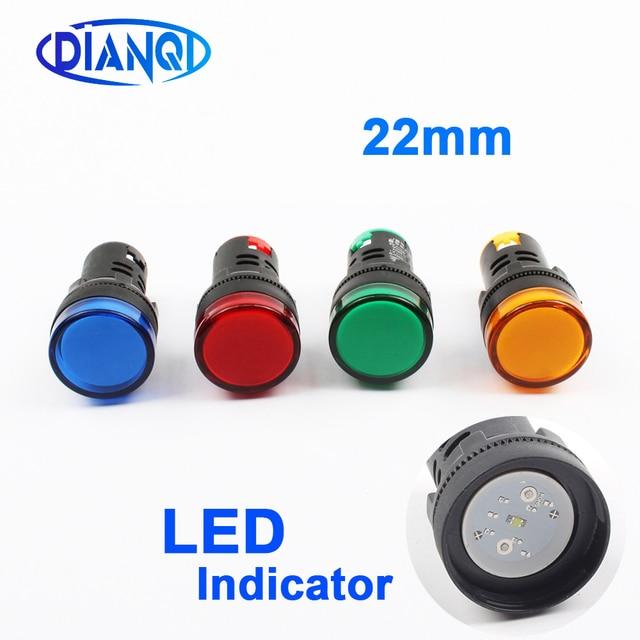 1pcs 12 v 24 v 220 v 380 v 22mm 패널 마운트 led 전원 표시기 파일럿 신호등 램프-에서상태등부터 등 & 조명 의