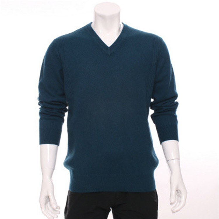 100%goat Cashmere Knit Men Neutral Color Pullover Sweater Vneck Dark Blue 7color S-2XL