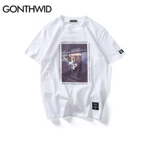 GONTHWID Vintage Painting Printed T Shirts  Casual Short Sleeve