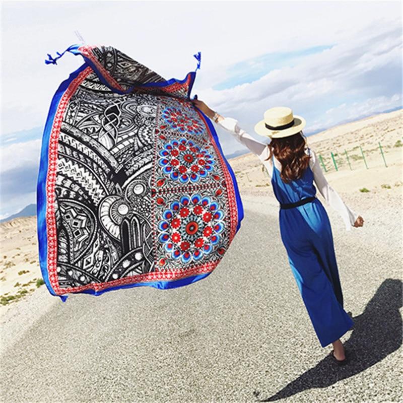 LEAYH Summer Beach Sun Shawls Female   Scarf   Dual-Use Ethnic -Style Thin Cultural Tourism Long   Scarves     Wraps   100*180cm