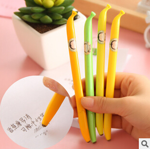 4 pcs/lot Novelty Banana Shape 0.5mm Gel Ink Pen Promotional Gift Stationery School & Office Supply