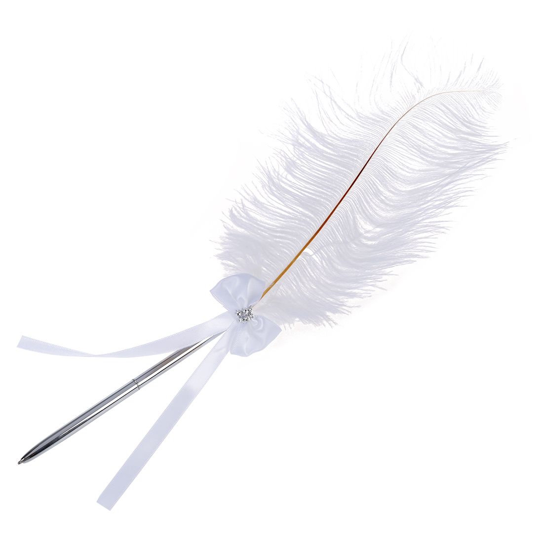 Bowknot Wedding Signing Pen White Ostrich Feather Pen with Diamante