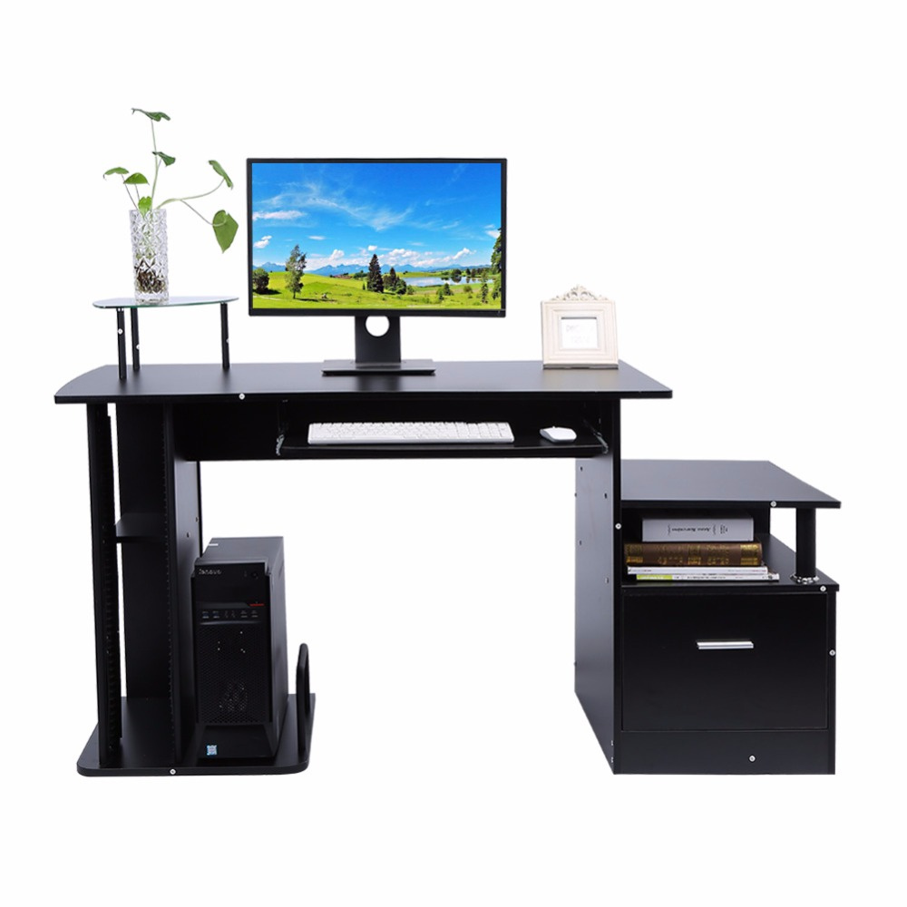 TV Stand Wood Computer desk table office workstation study writing PC furniture drawers  ...
