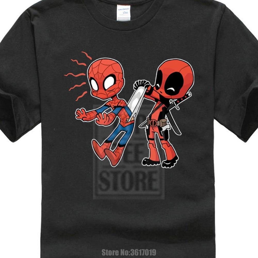 Tops   T     Shirt   Homme Men'S Underoos Funny Spiderman Vs Deadpool Marvel Avengers Design Men'S High Quality Short Sleeve Tee