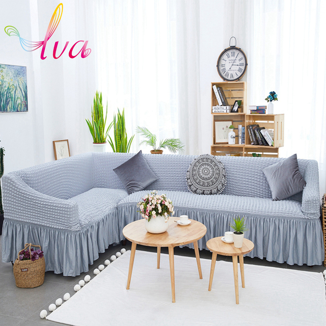 Lva Plaid Corner Sofa Slipcover Universal Elastic Quick Drying Thick L Shape Couch Cover For