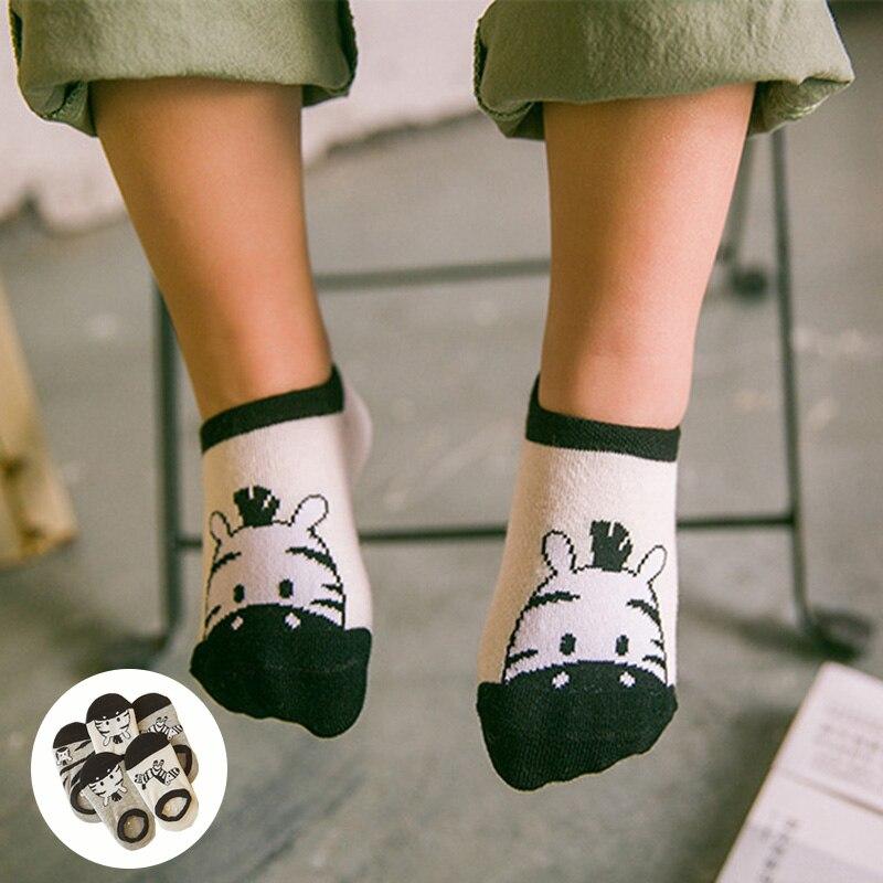 New Kids Boat Invisible Socks For Boy Girl 5 pairs lot Cotton Unisex Cartoon Zebra Pattern