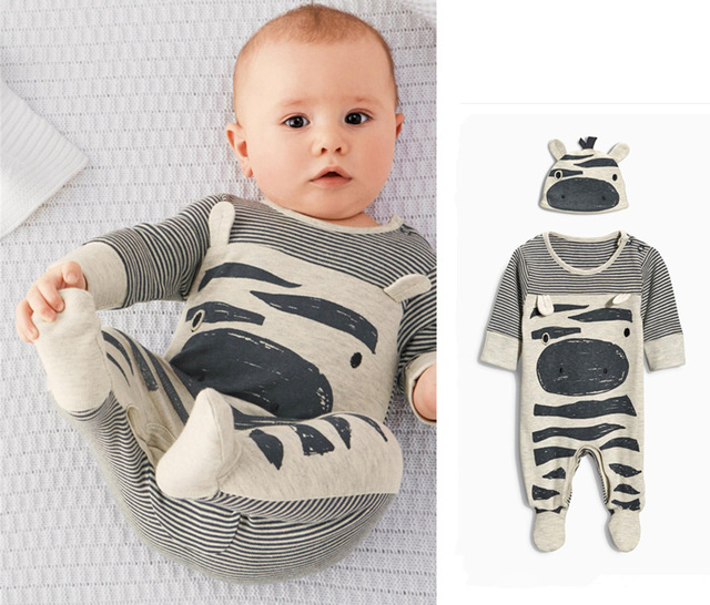 b806ee51b23a 2018 Hot selling Baby Clothing Baby Boy Romper Cartoon Cotton Long-sleeved  jumpsuits+Hat Newborn Toddler Baby Boy Clothes