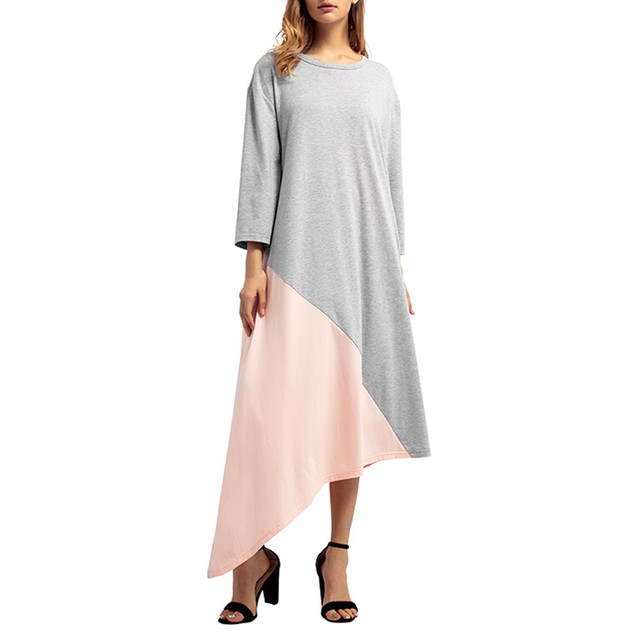 2019 new Women's long dress O-neck solid color stitching loose large size Islamic Muslim Middle Eastern long dress 4.12 4