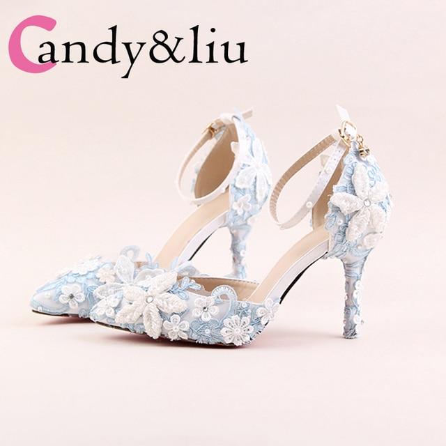 Sandales À Talons De Bloc Bleu Avec Fleur De Diamant JrebQ4