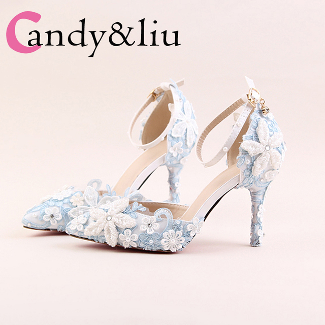 334f1d10ecfda Shoes Woman Light Blue Lace Pearl Flower Bride Wedding Shoes Pointed Toe  High Heels 9cm Sapato Feminino Sandalias Mujer 2018