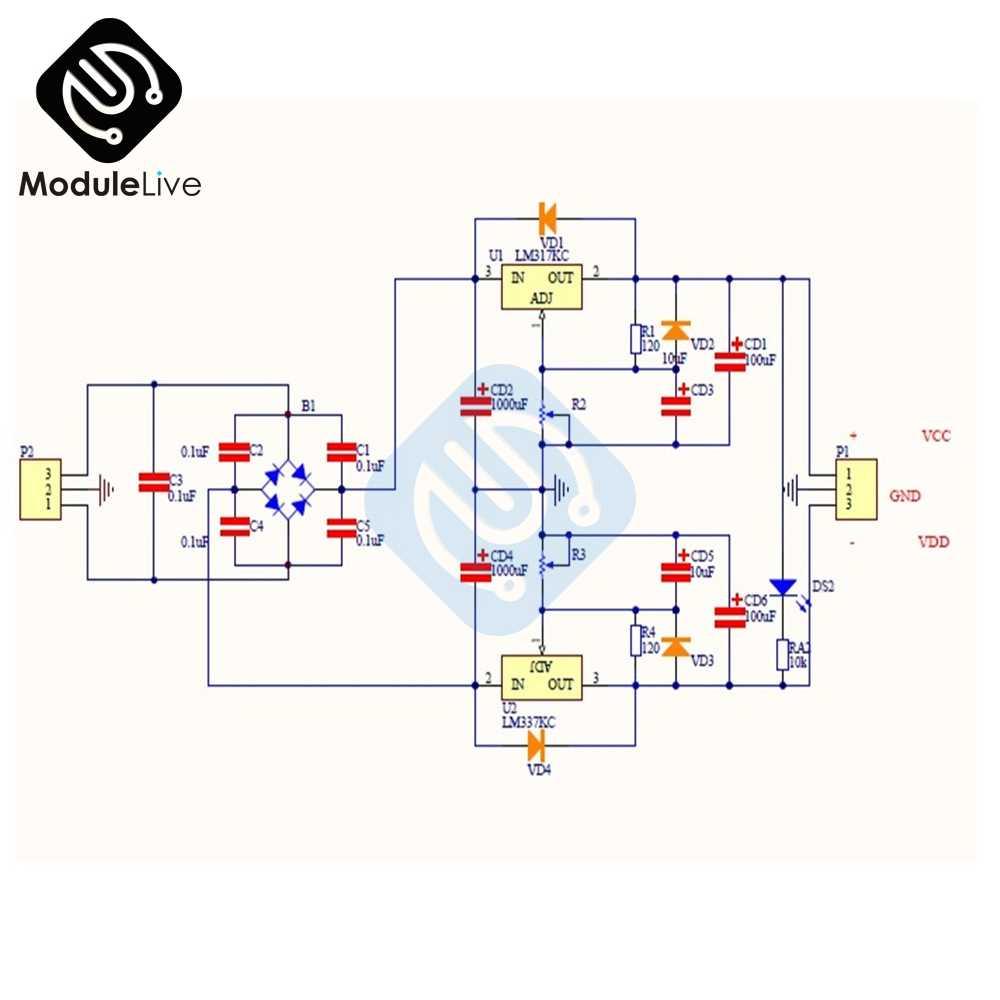 LM317 LM337 Adjustable Filtering Power Supply AC/DC 5v 12v 24v Voltage  Regulator PSU DIY Kits Module